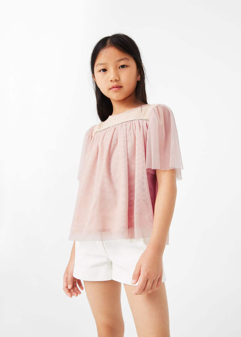 Sequined tulle blouse | MANGO KIDS