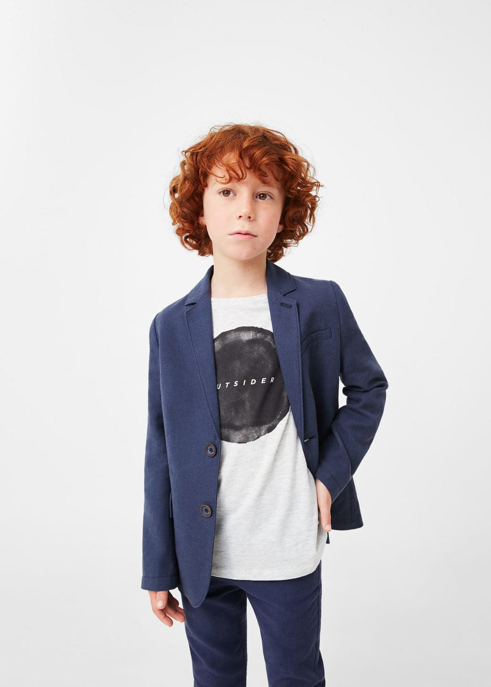 Linen cotton-blend blazer | MANGO KIDS
