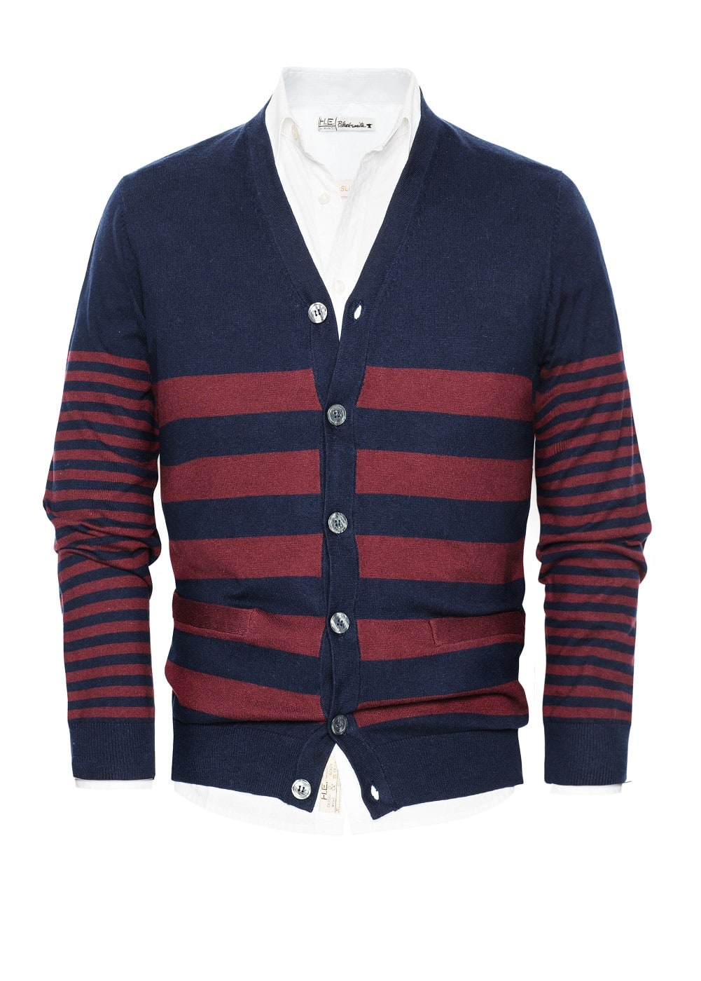 Striped cotton-blend cardigan | MANGO MAN