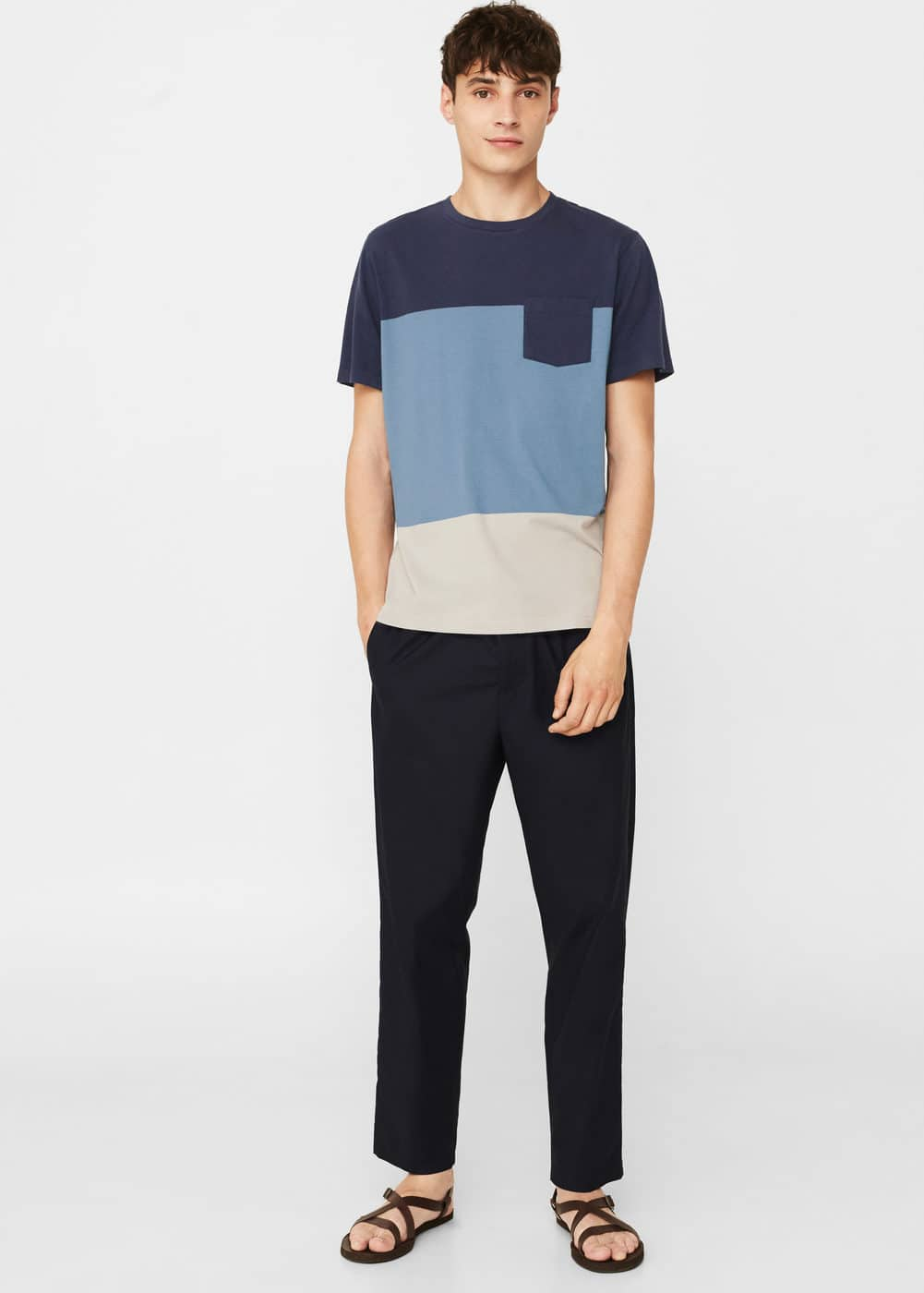 Cotton panel t-shirt | MANGO MAN