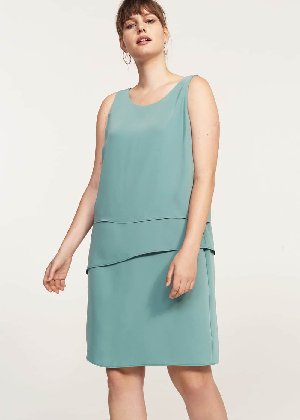 Midi-kleid mit volants | VIOLETA BY MANGO