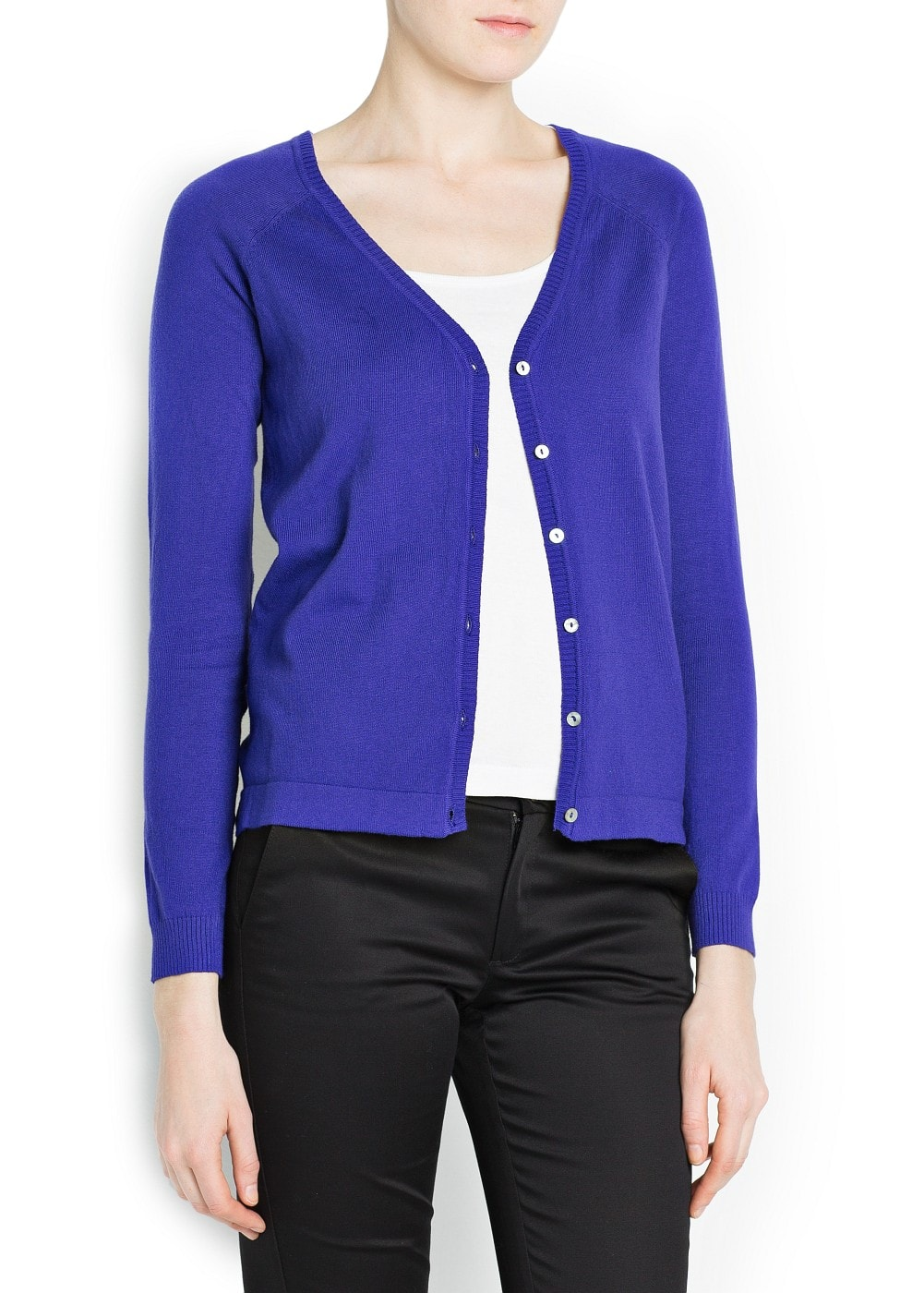 V-neck cotton-blend cardigan | MANGO