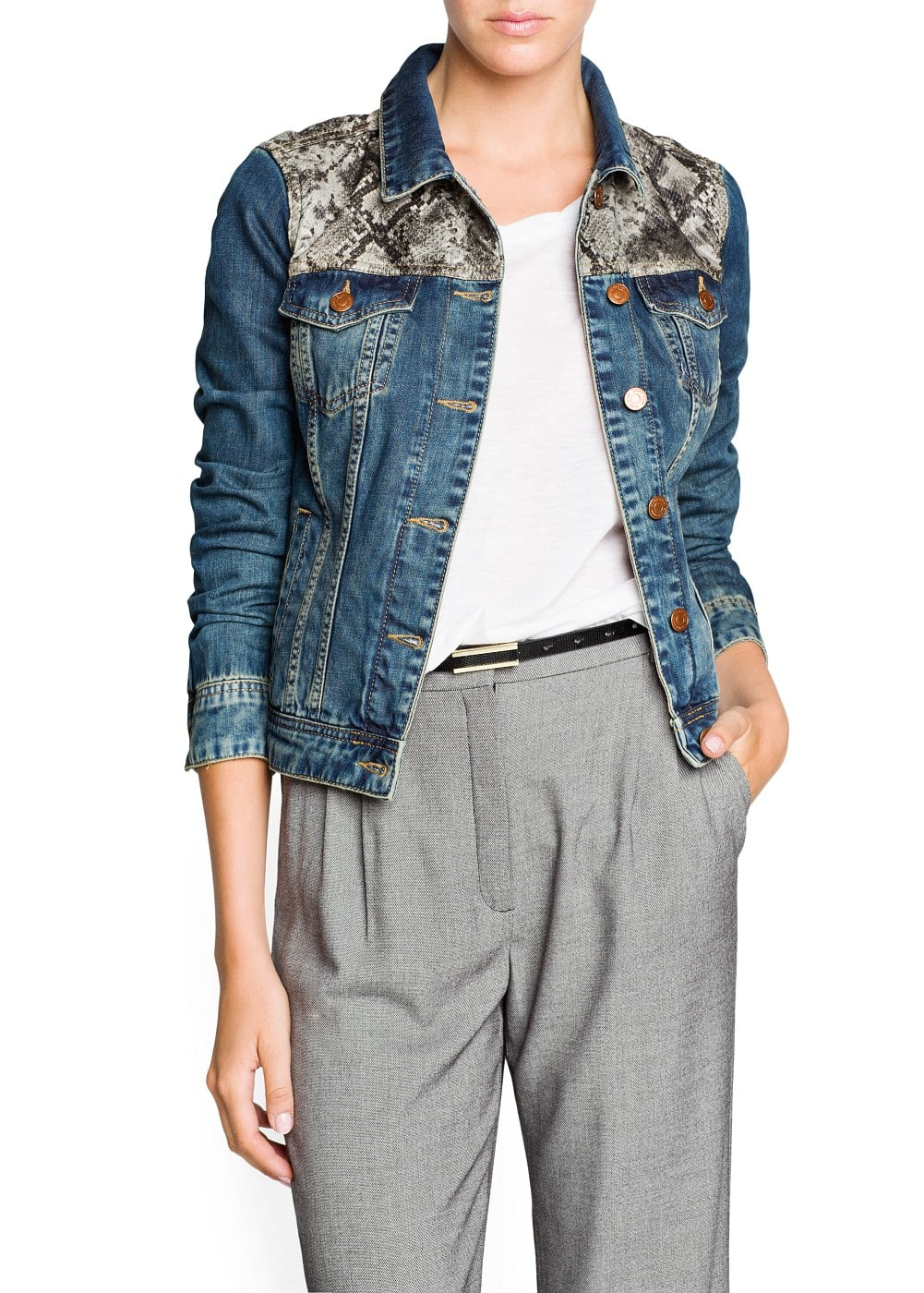 Snake panel denim jacket | MANGO