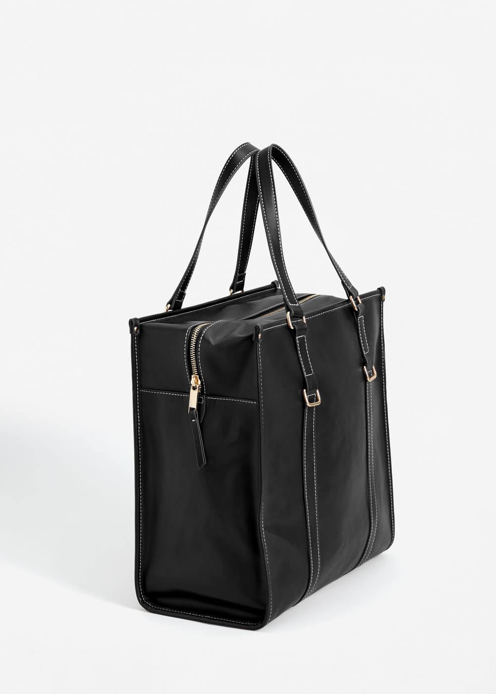 Sac shopper coutures contrastantes | MANGO