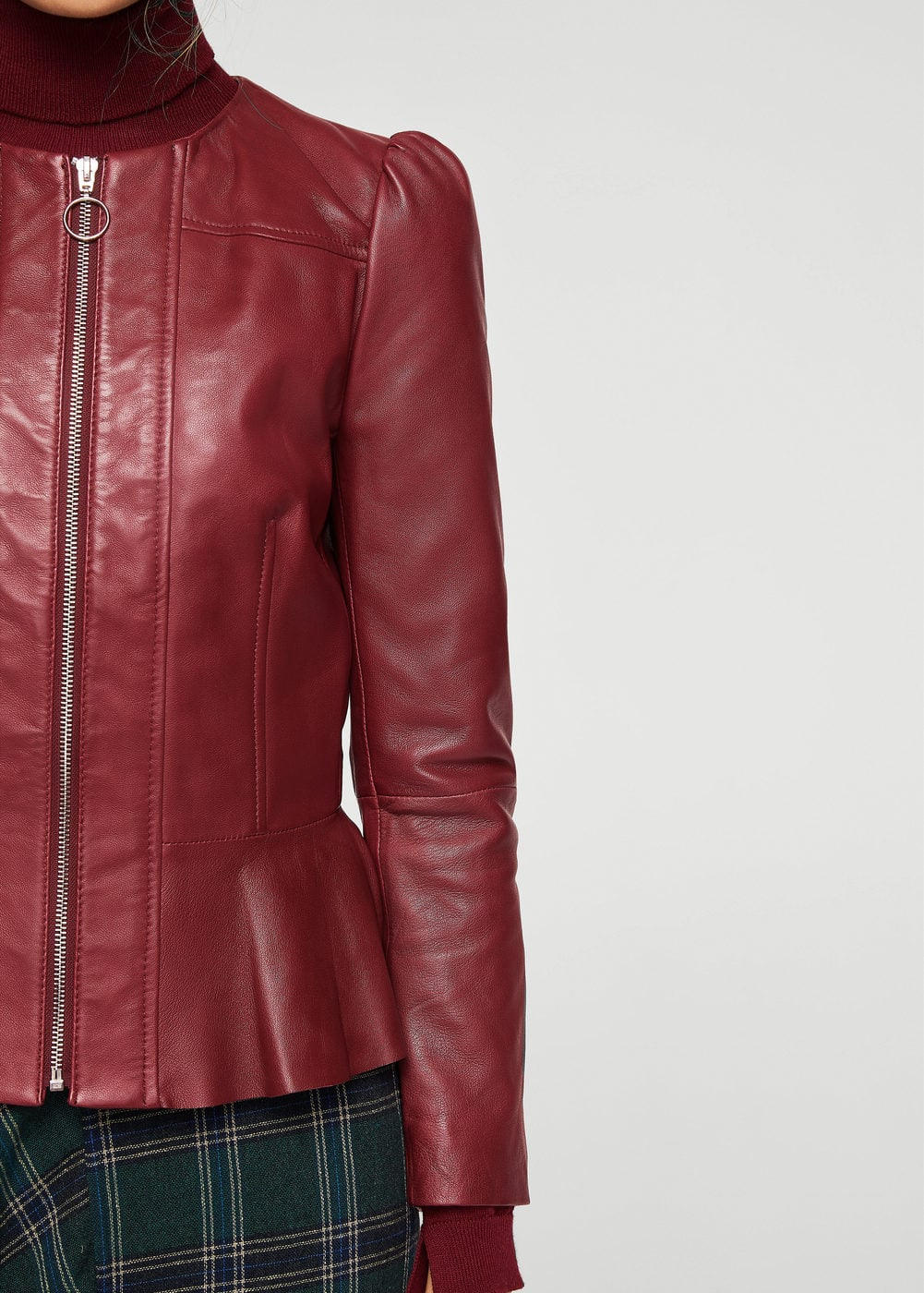 Puffed leather jacket | MANGO
