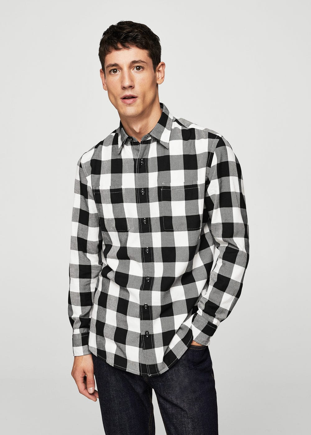 Regular-fit check cotton shirt | MANGO MAN
