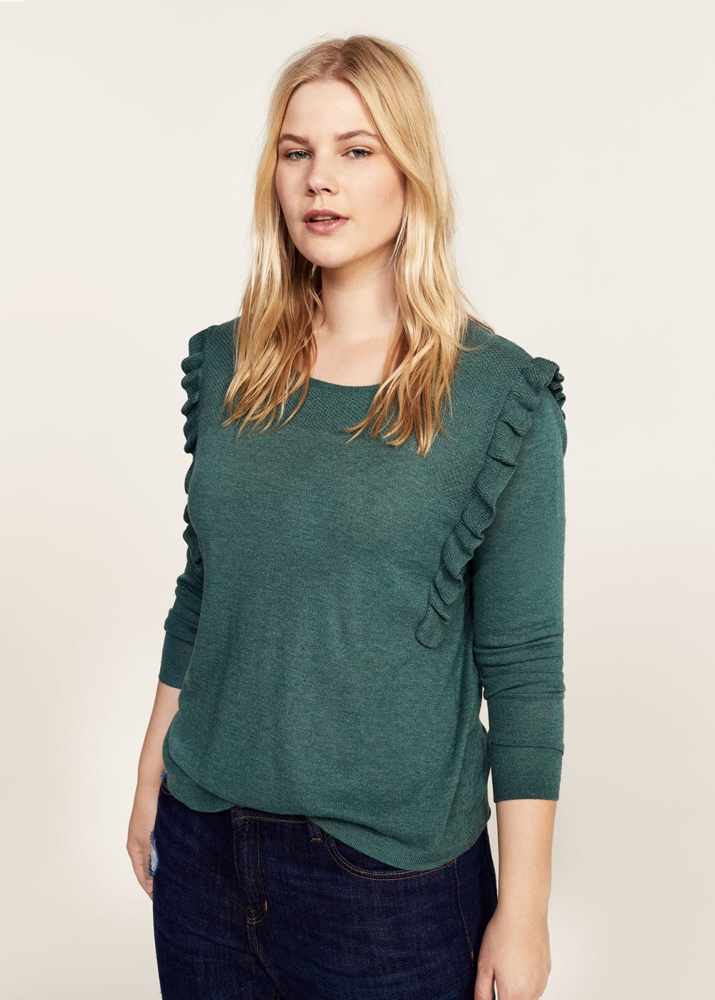 Ruffled detail sweater | VIOLETA BY MANGO