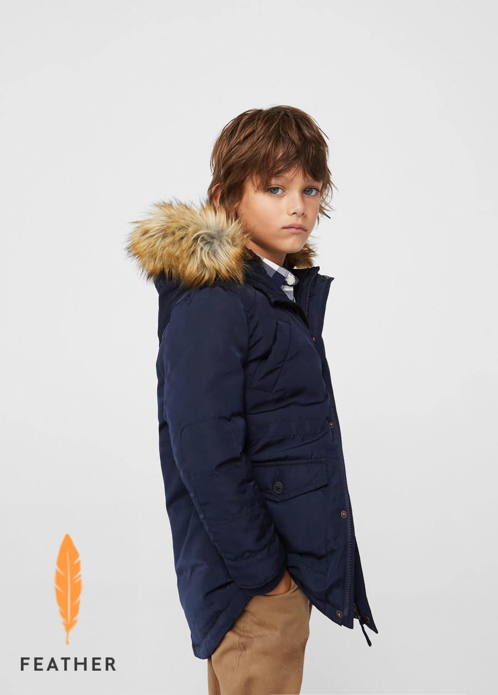 Feather down hooded coat  | MANGO