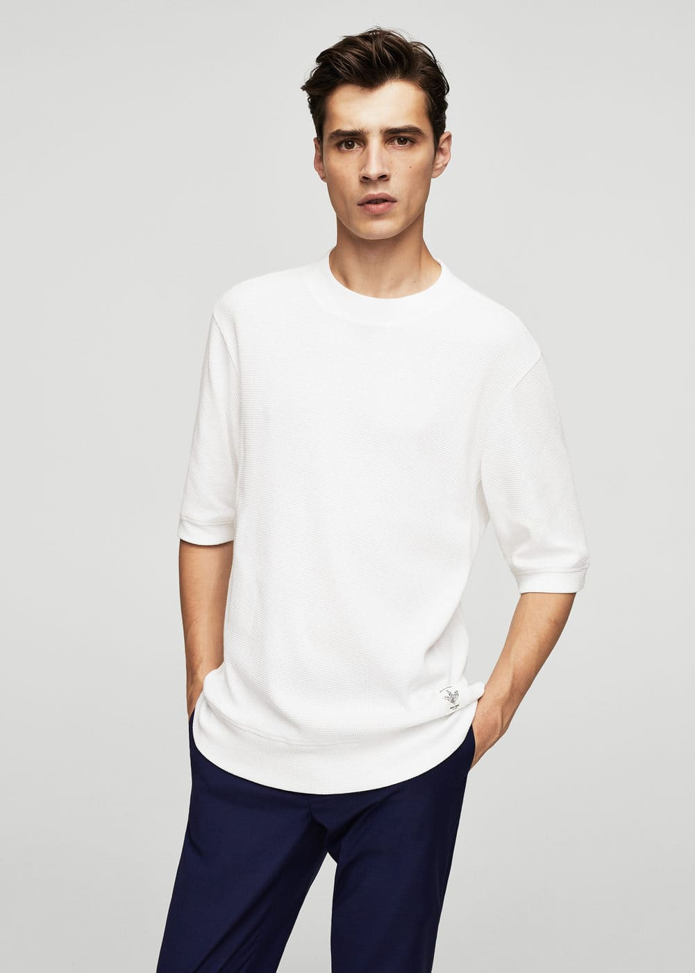 Textured cotton t-shirt | MANGO