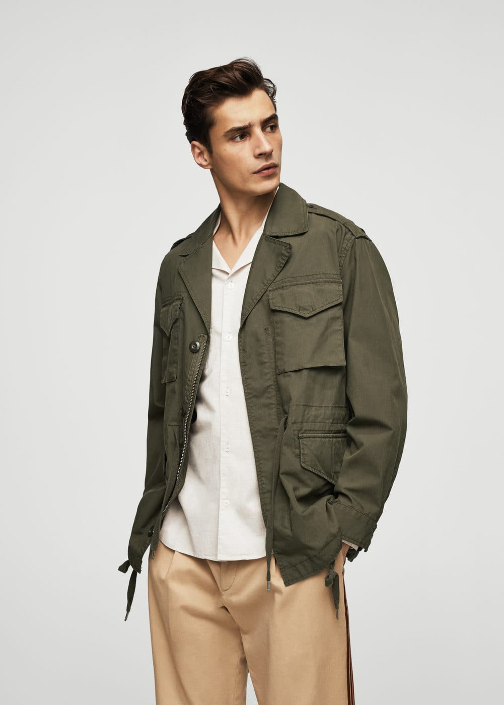 Pockets cotton field jacket | MANGO