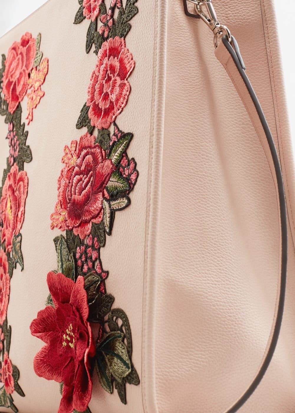 Floral embroidery shopper bag | MANGO