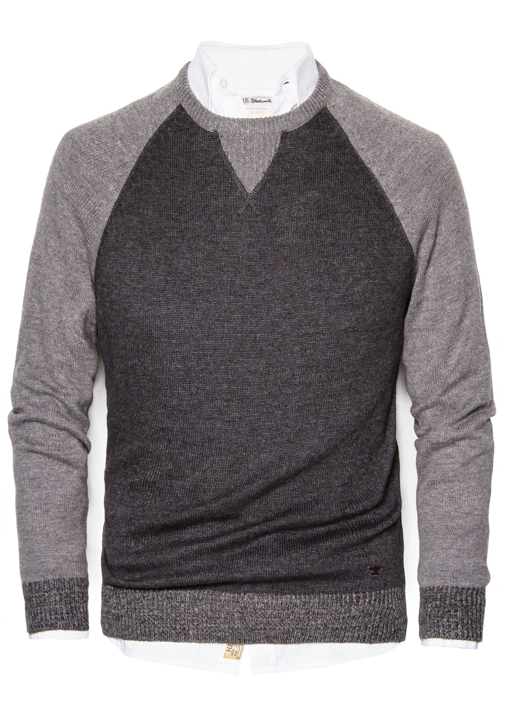 Contrast wool cotton-blend sweater | MANGO