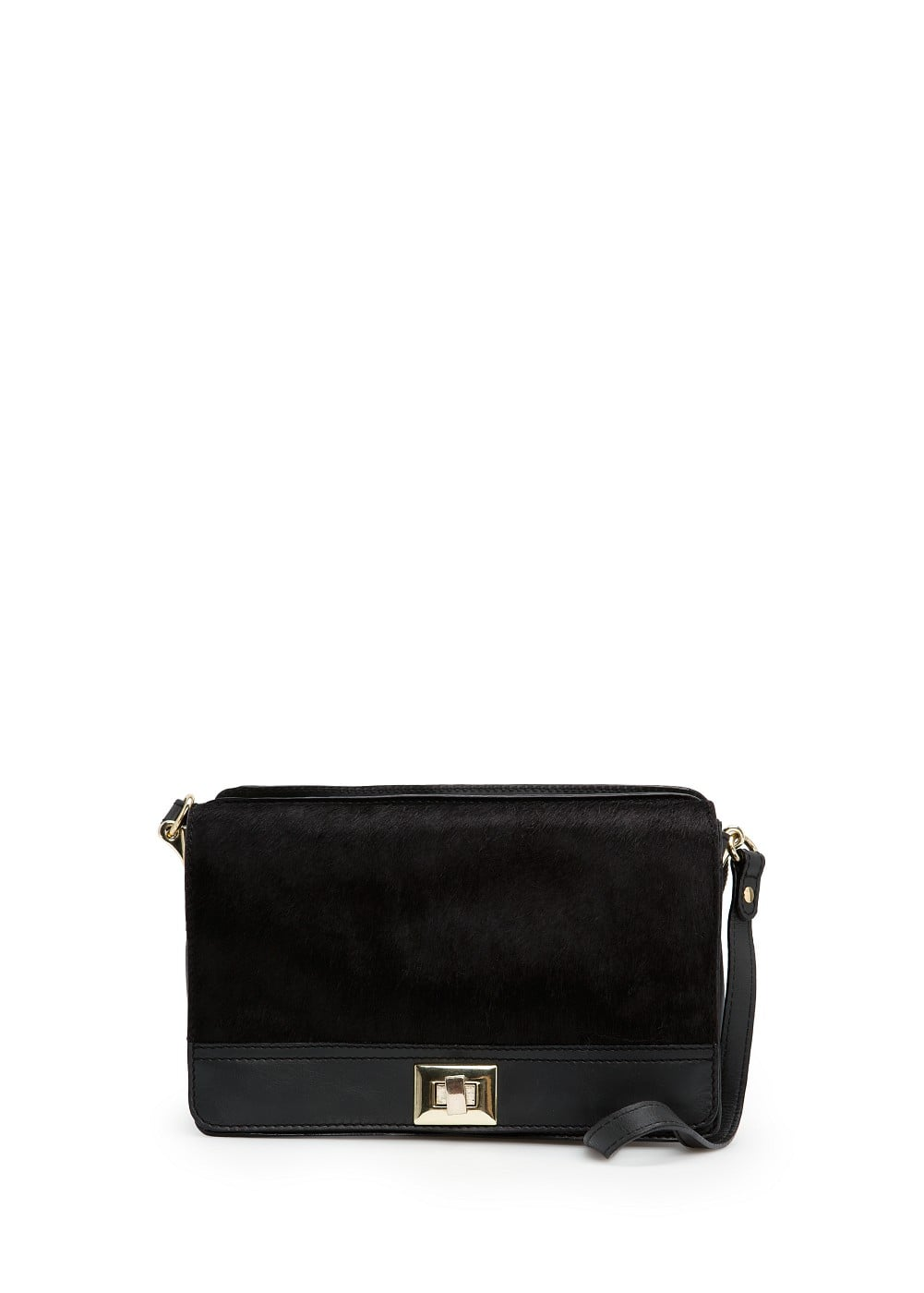 Fur appliqué leather shoulder bag | MANGO