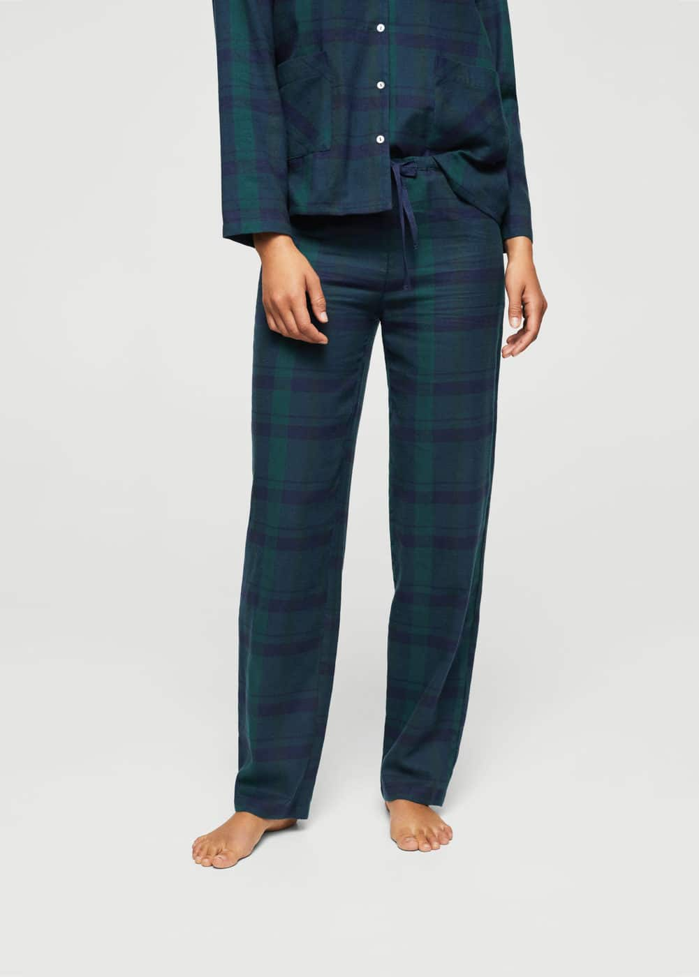 Check cotton trousers | MANGO