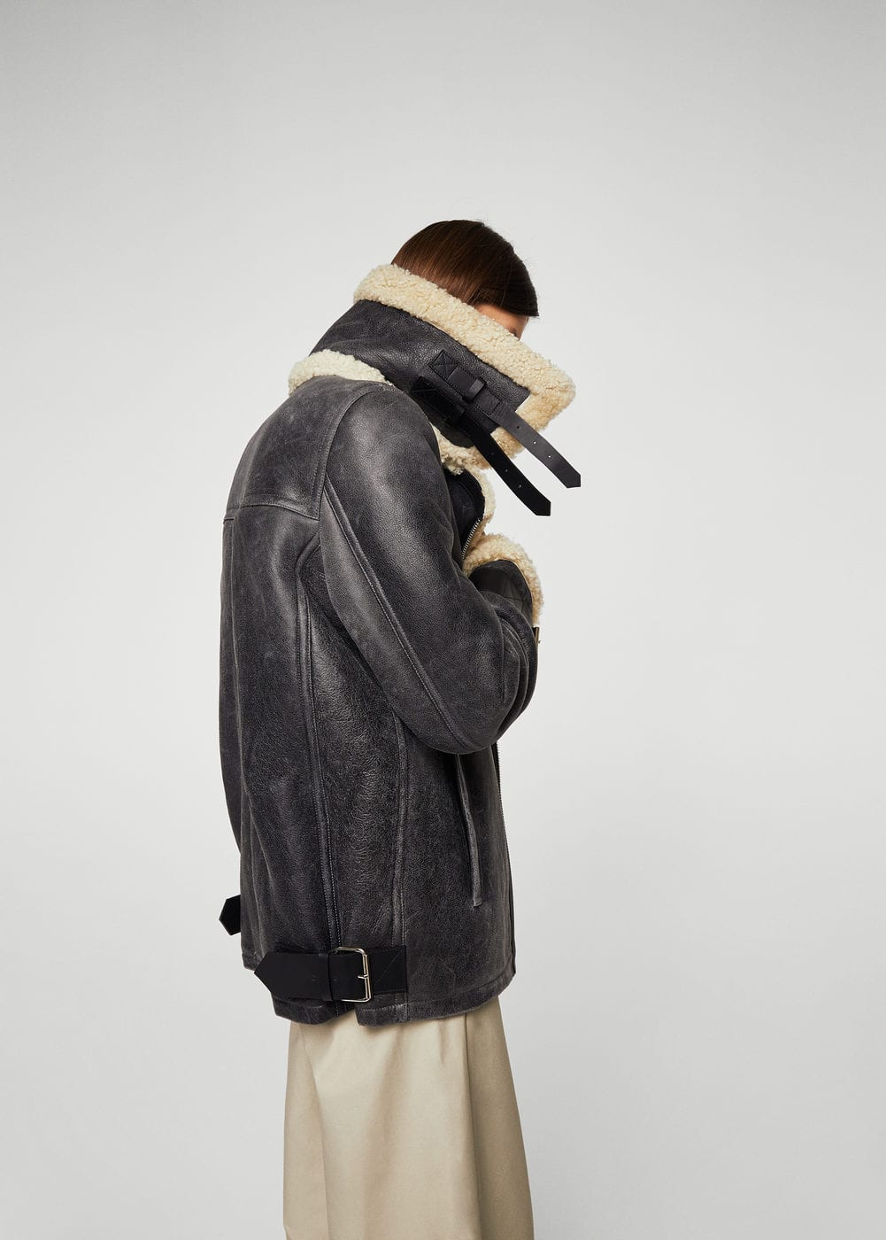 Sheepskin aviator jacket | MANGO