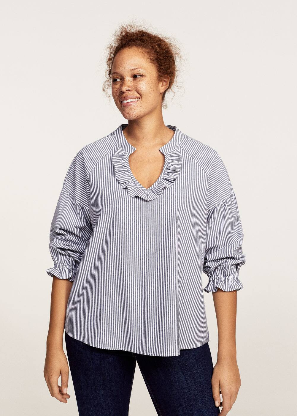 Striped ruffled blouse | VIOLETA BY MANGO