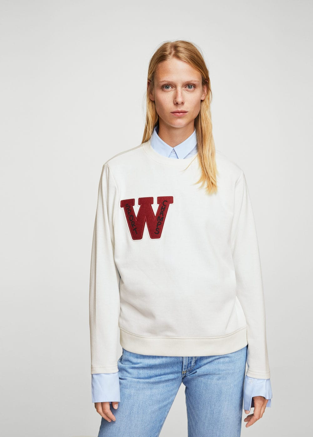 Embroidered message sweatshirt | MANGO