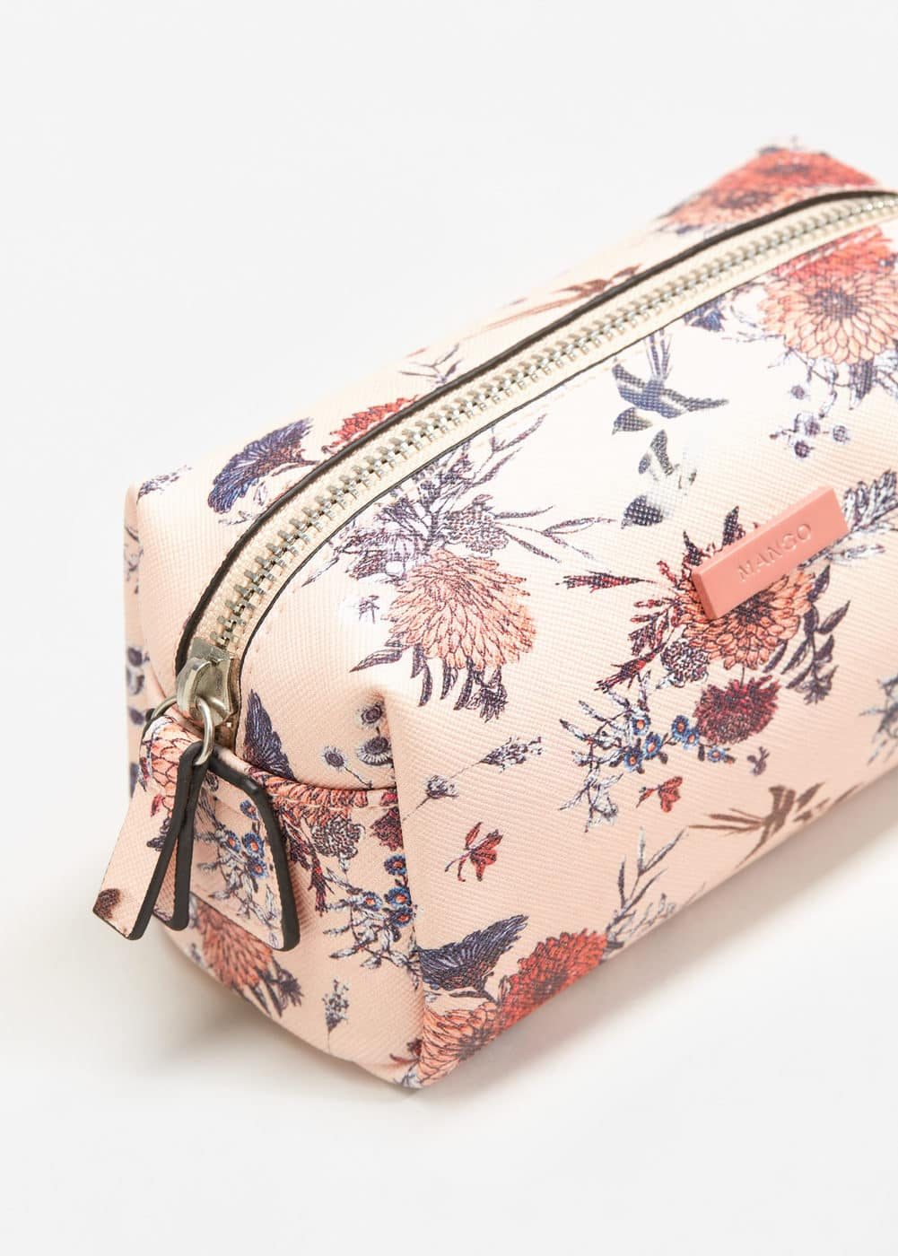 Floral saffiano-effect cosmetic bag | MANGO