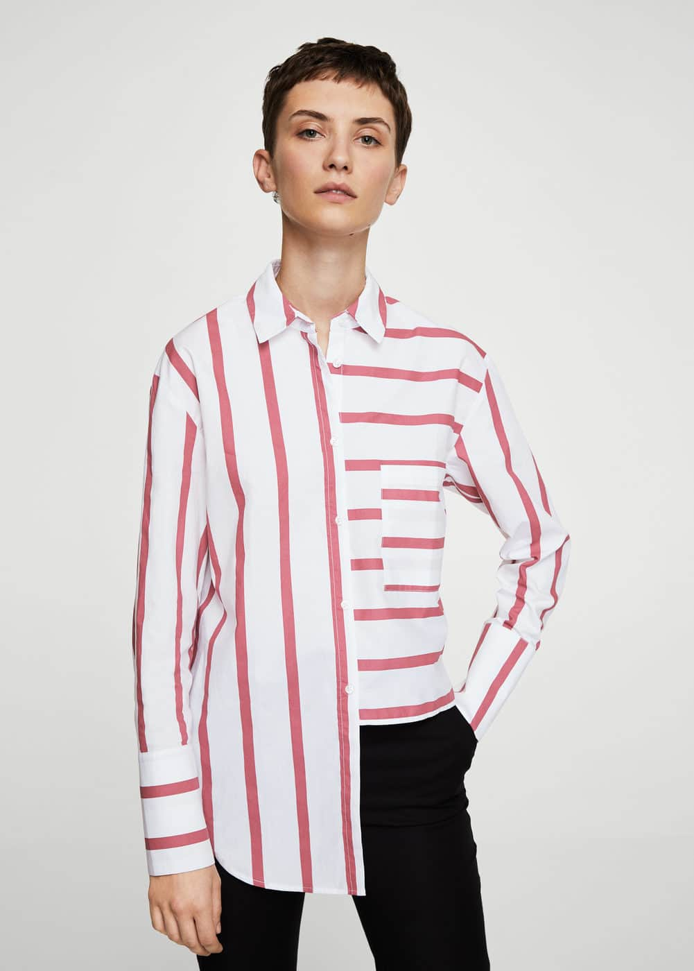 Striped pearls shirt | MANGO