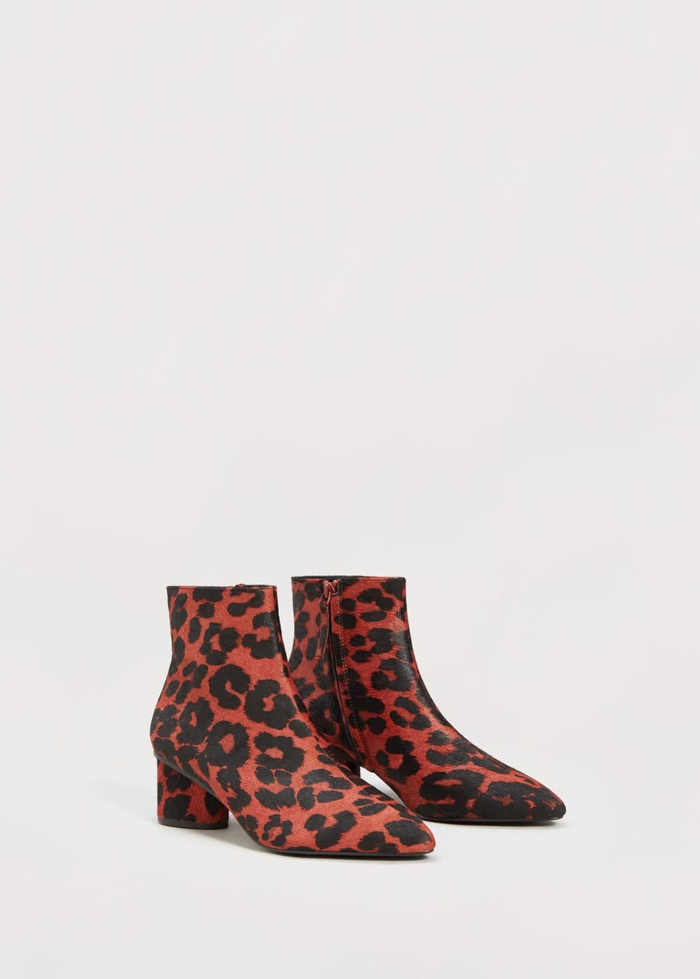 Leopard-print leather ankle boots | MANGO