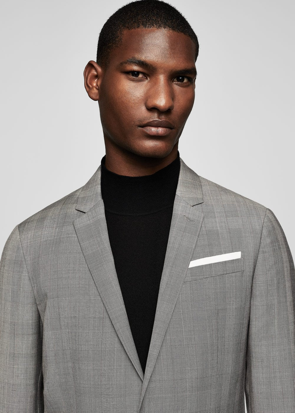 Prince of wales classic-fit suit blazer | MANGO MAN