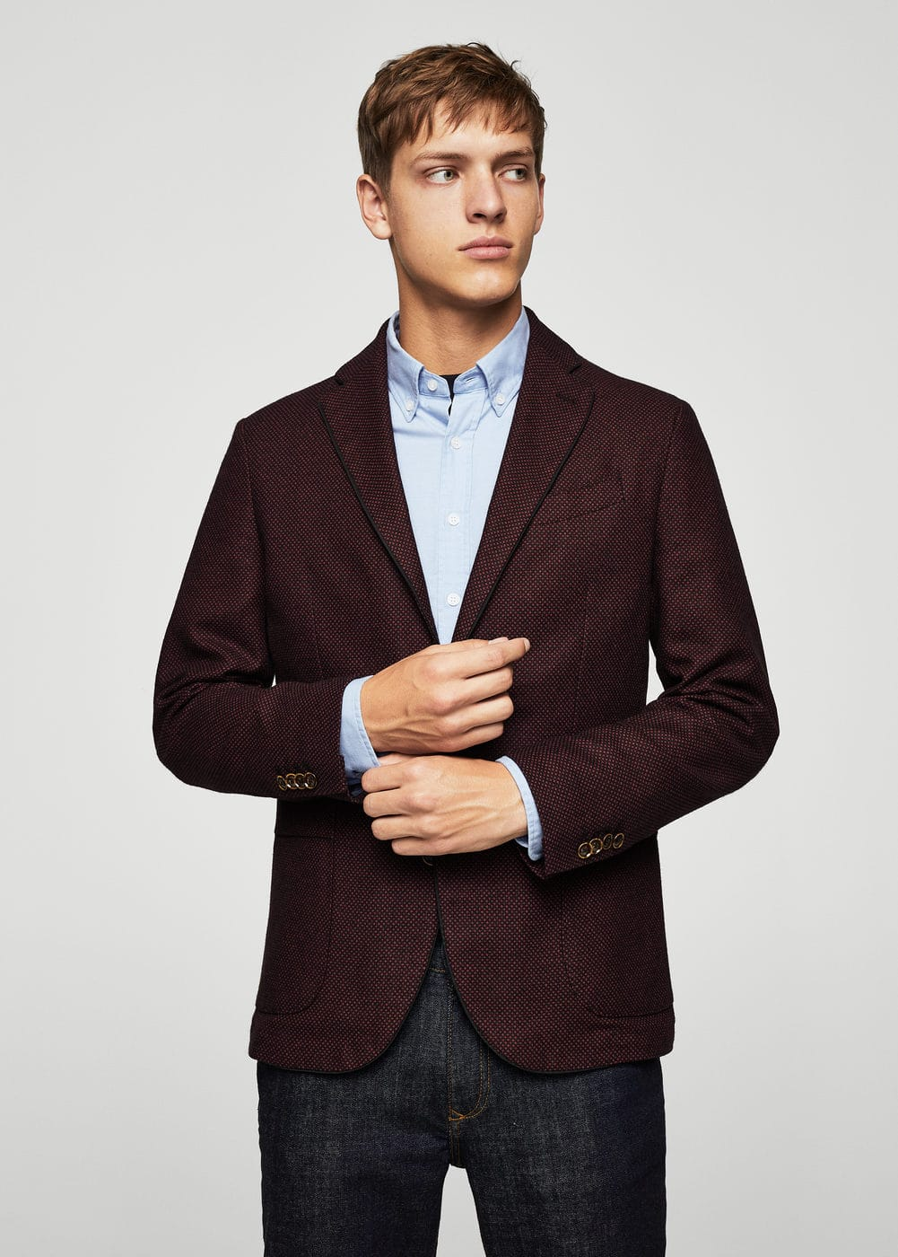 Slim-fit patterned cotton blazer | MANGO MAN