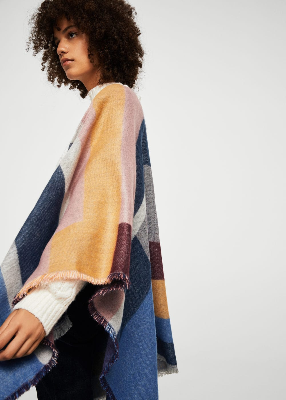 Striped poncho | MANGO