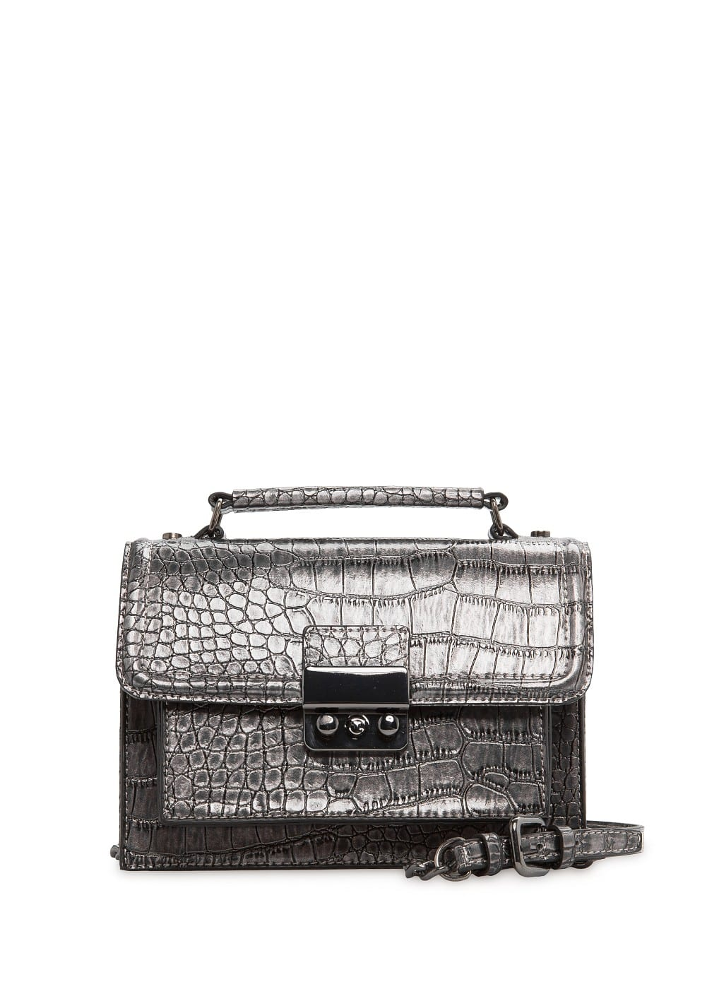 Faux crocodileskin shoulder bag | MANGO