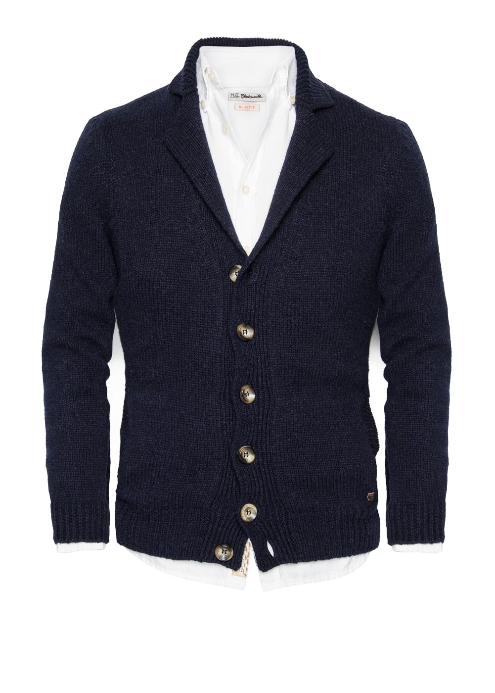 Chunky knit wool-blend cardigan | MANGO MAN