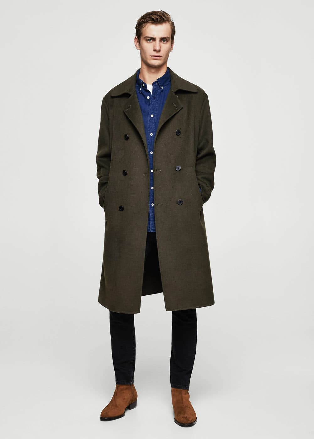 Double-breasted wool coat | MANGO MAN