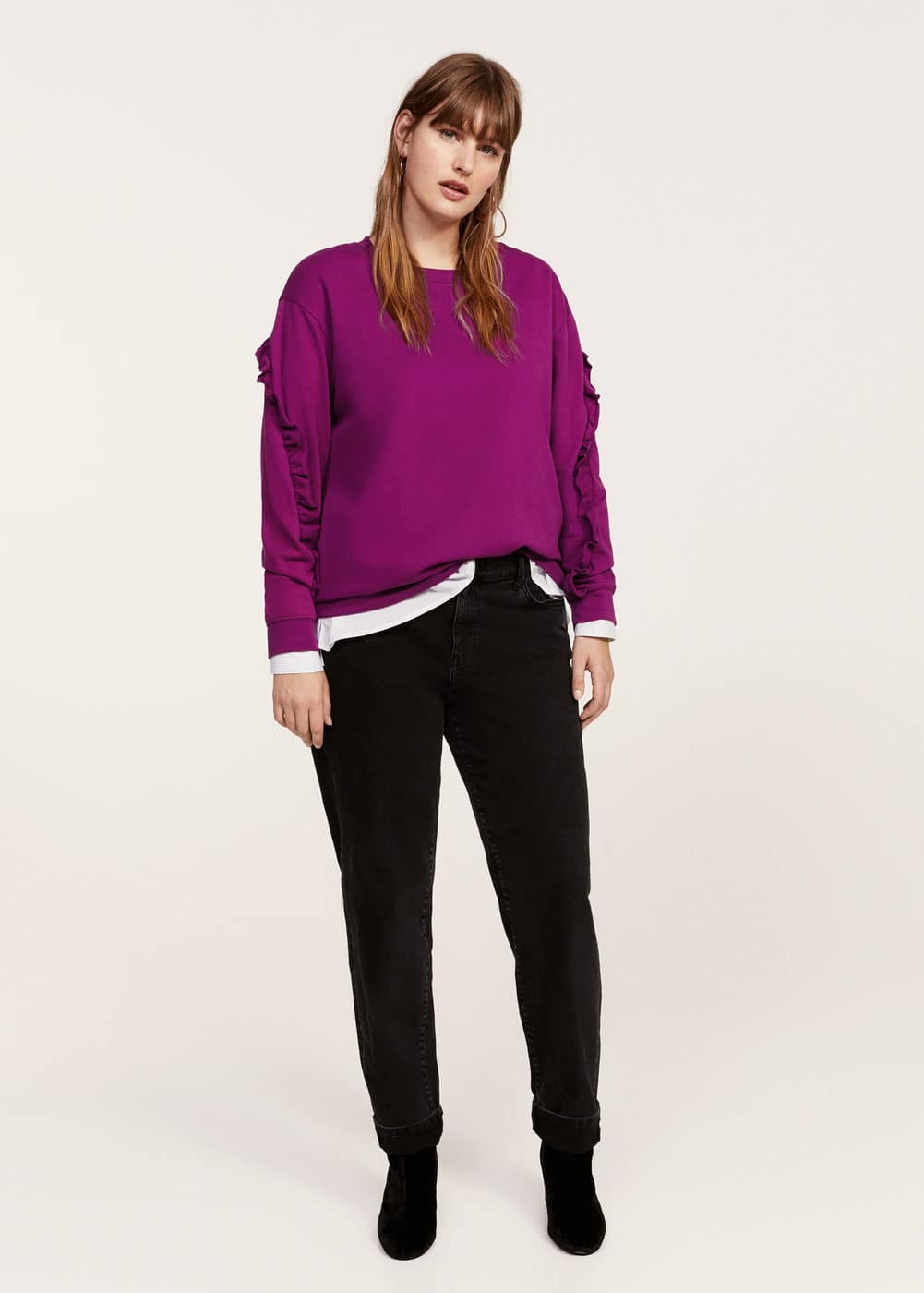 Ruffled sleeves sweatshirt | VIOLETA BY MANGO
