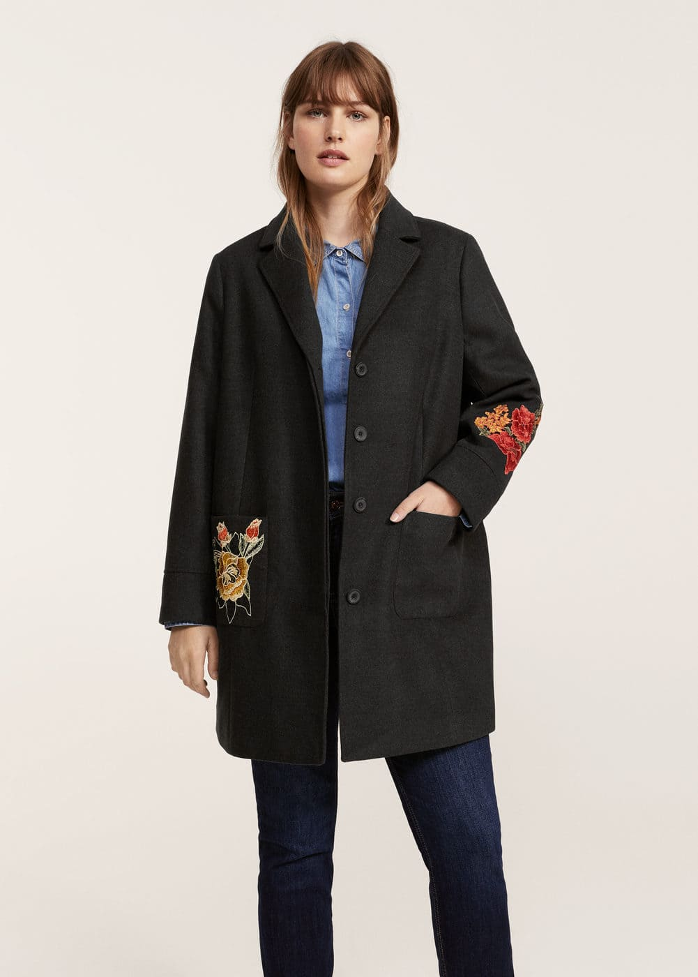 Floral embroidery coat | VIOLETA BY MANGO
