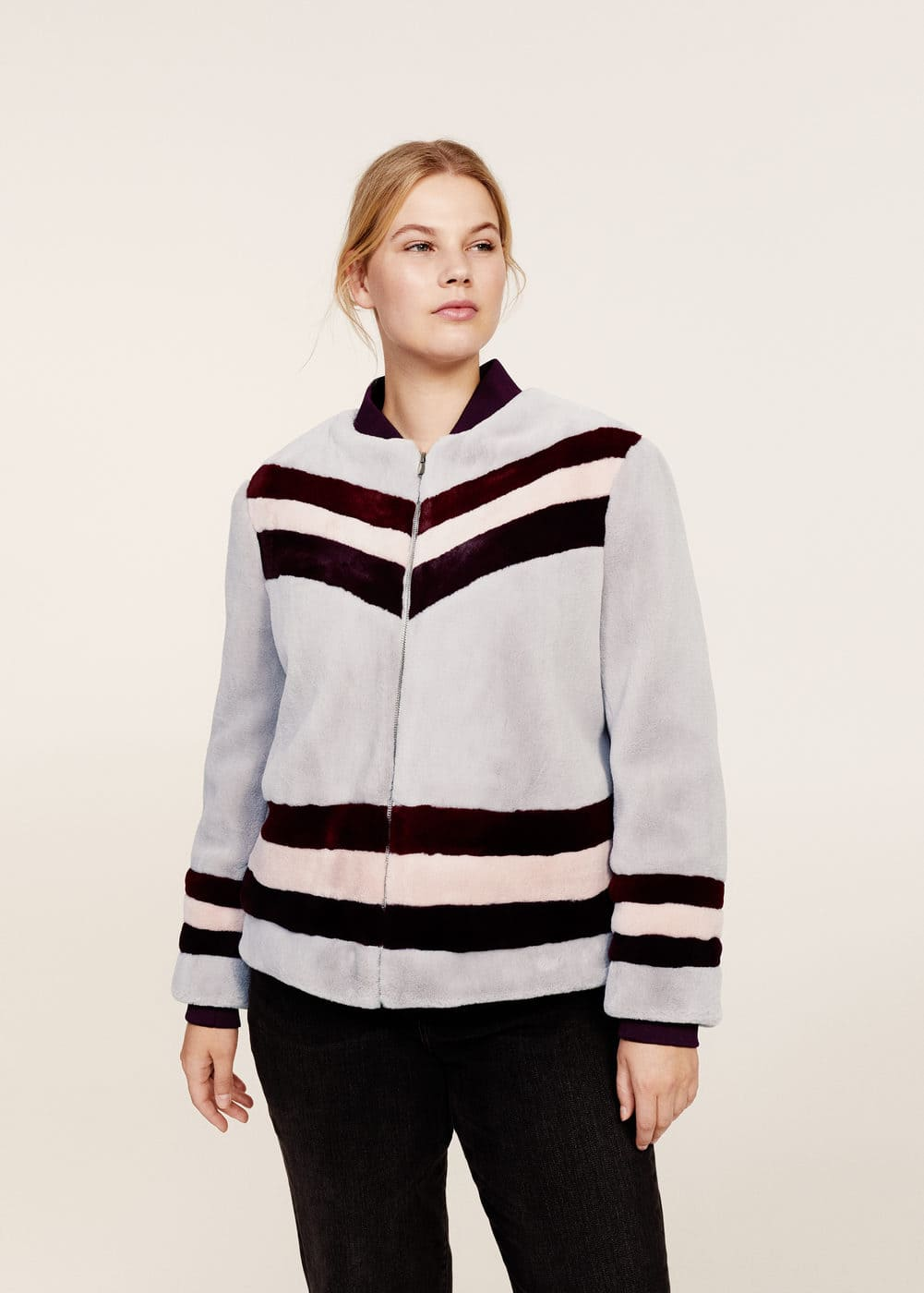 Embroidery striped faux-fur coat | MANGO