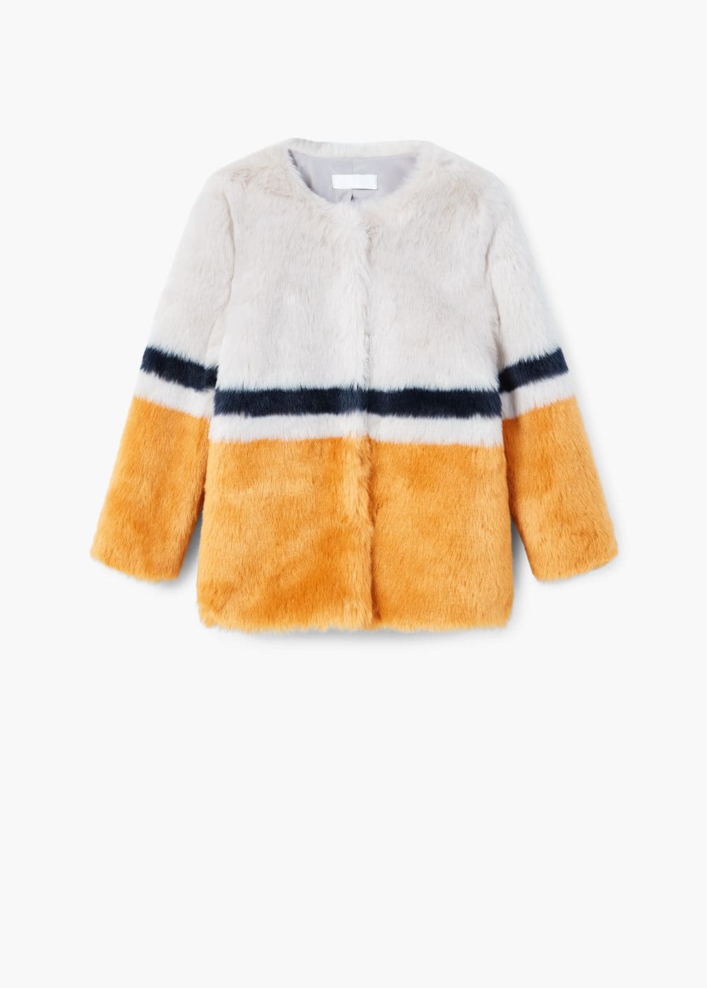 Tricolor faux fur coat | MANGO