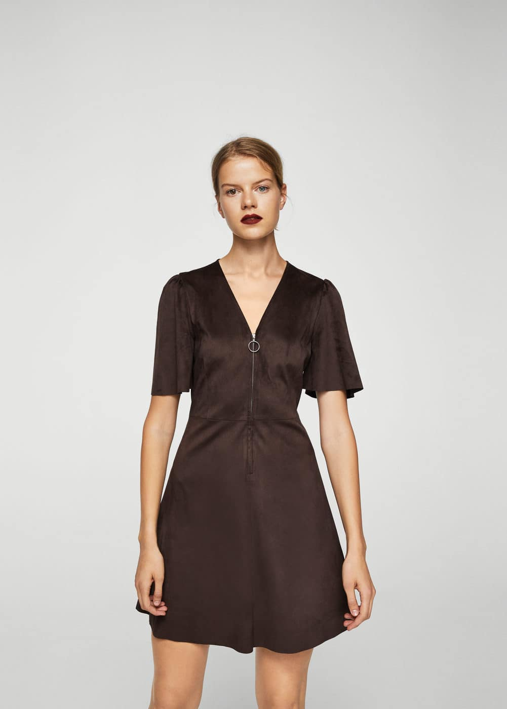 Suede effect dress | MANGO