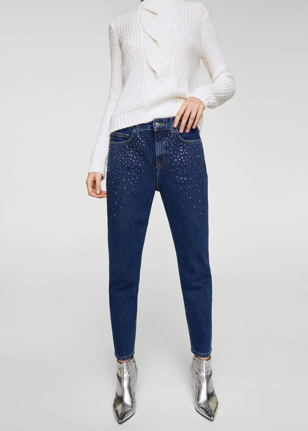 Crystal strass jeans | MANGO