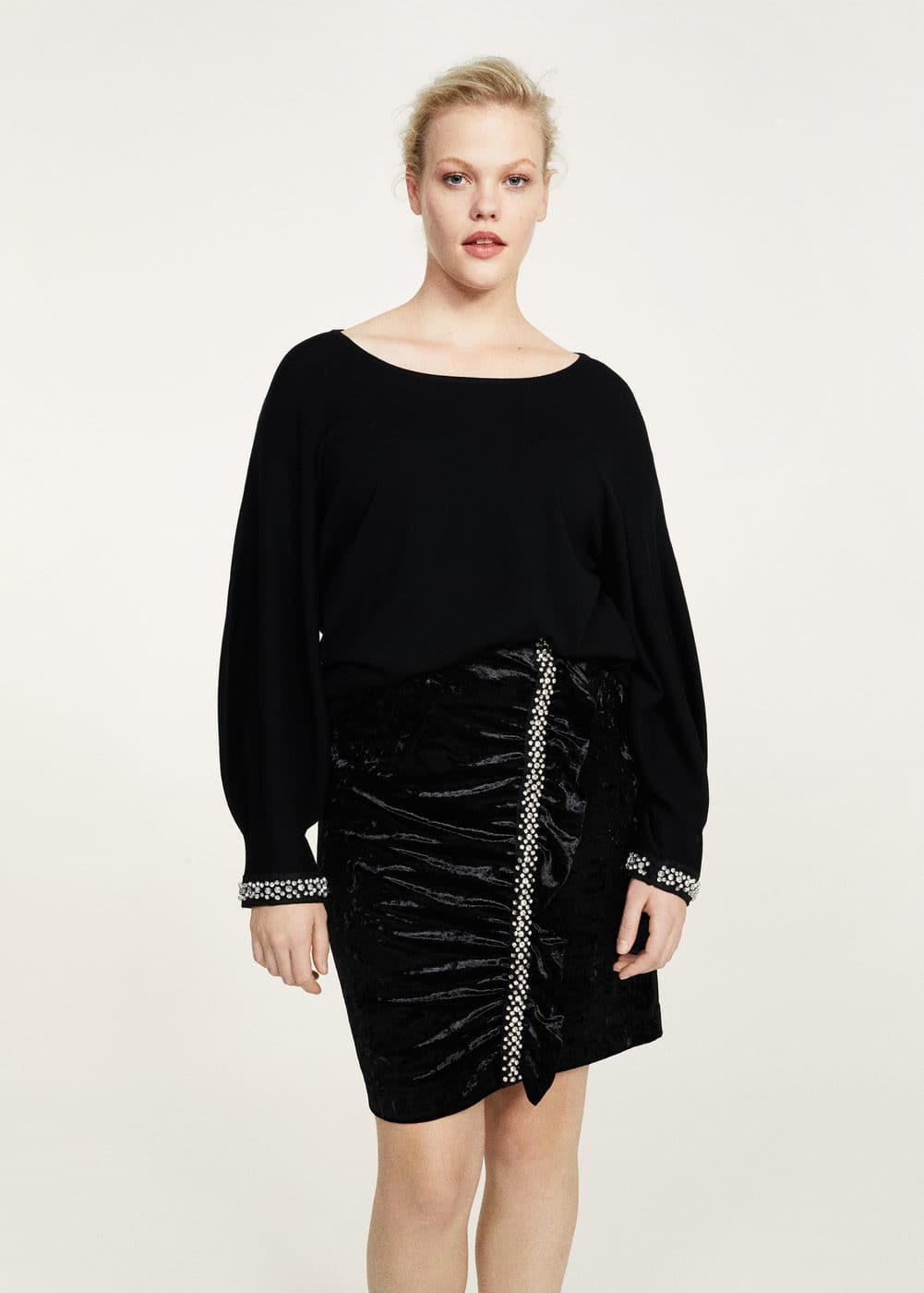Crystals velvet skirt  | VIOLETA BY MANGO