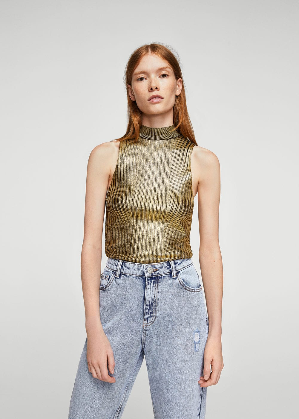 Glossed-effect ribbed top | MANGO