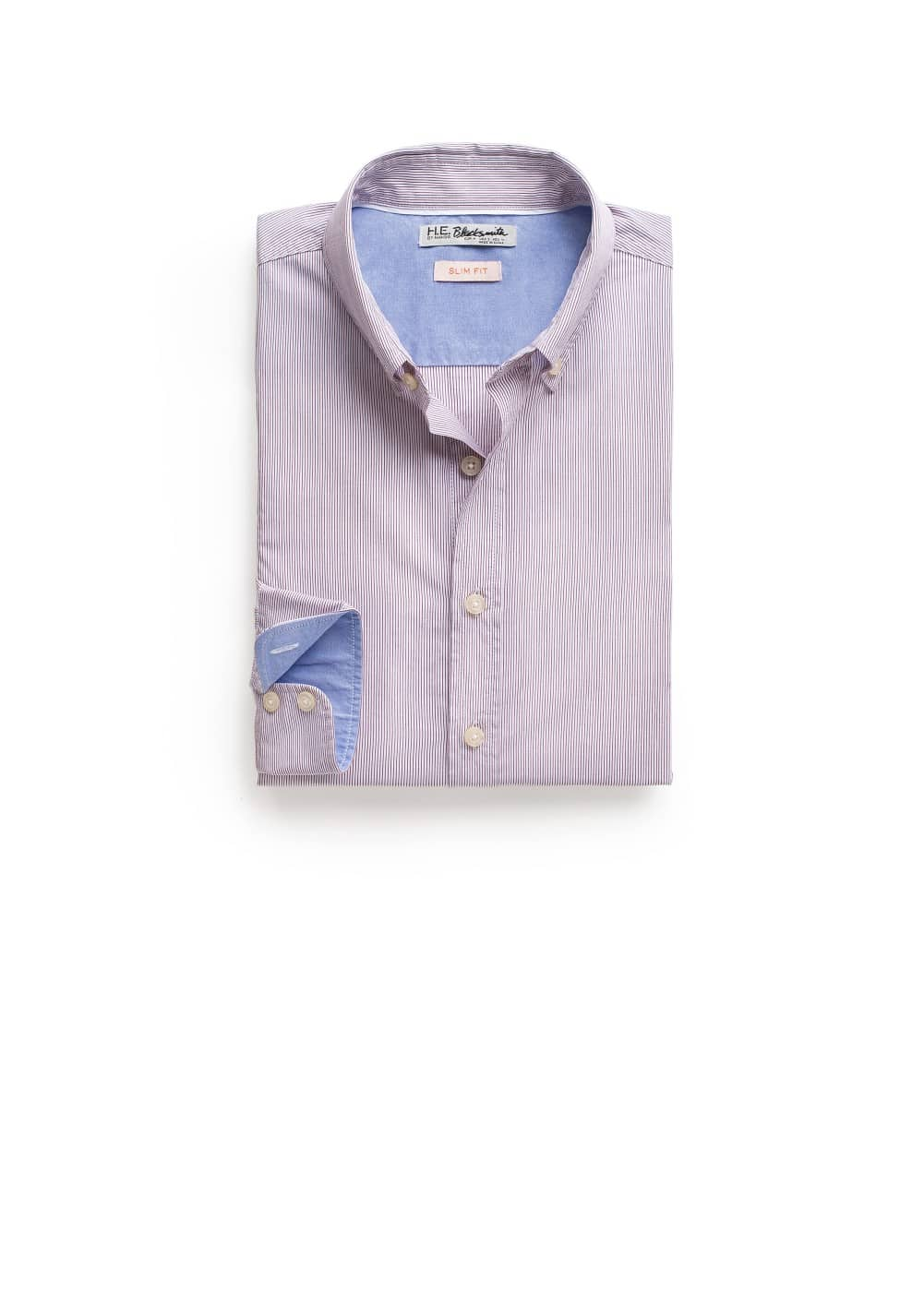Slim-fit fine-stripe shirt | MANGO MAN