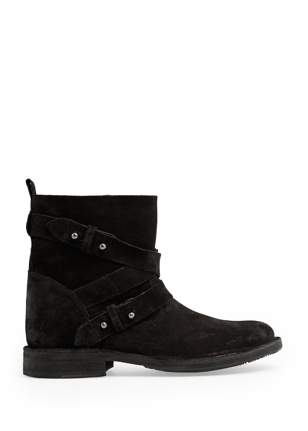 Cross strap suede ankle boots | MANGO