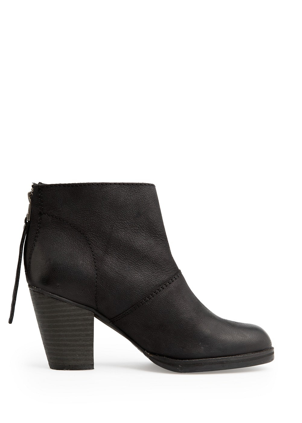 Wooden heel leather ankle boots | MANGO