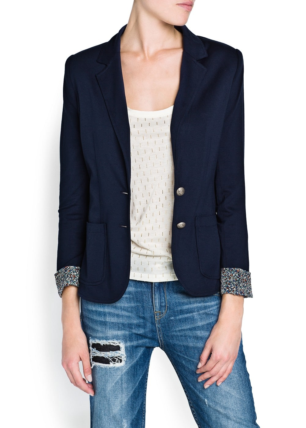 Contrasted lining jersey blazer | MANGO