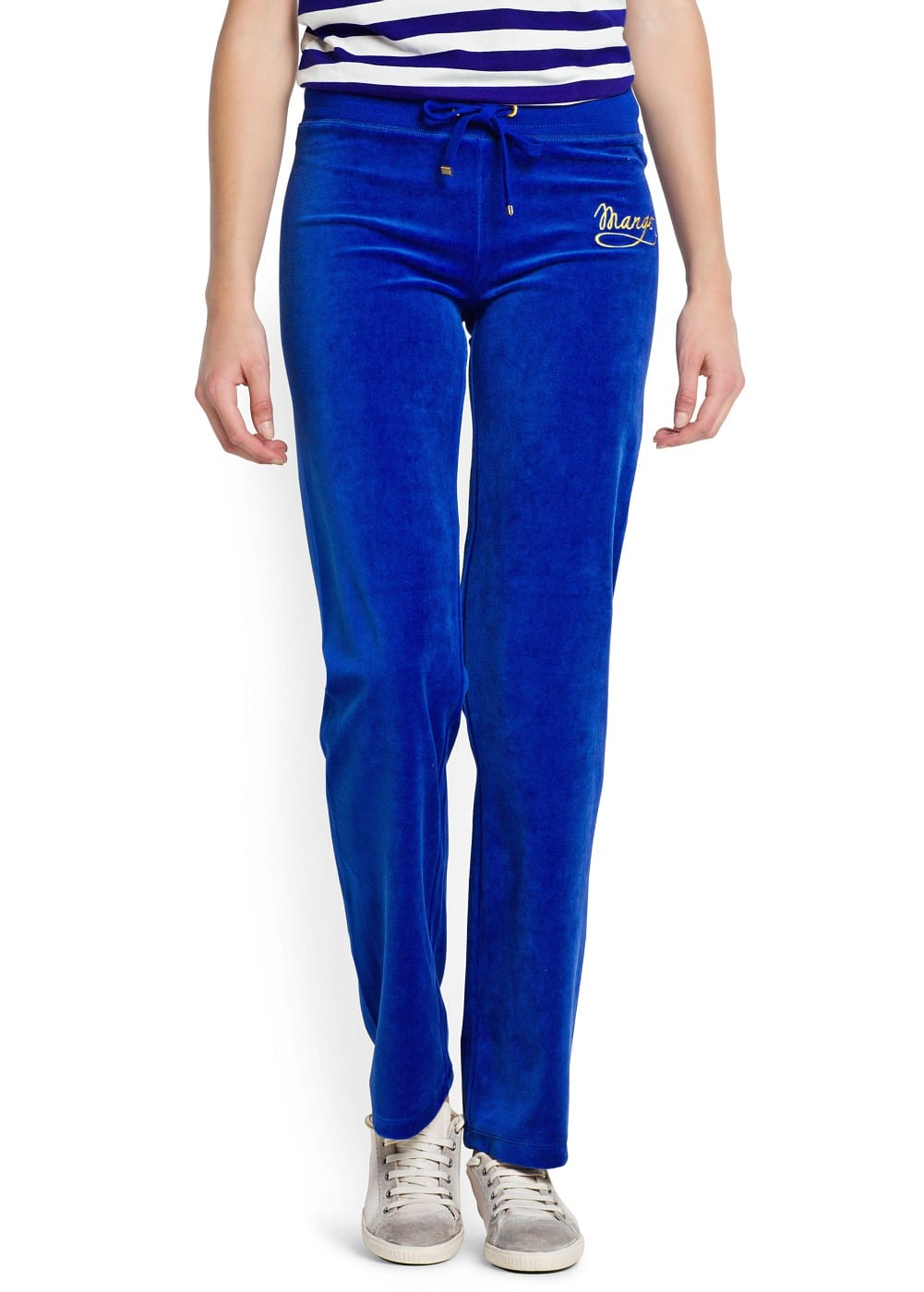 Straight-leg velour trousers | MANGO