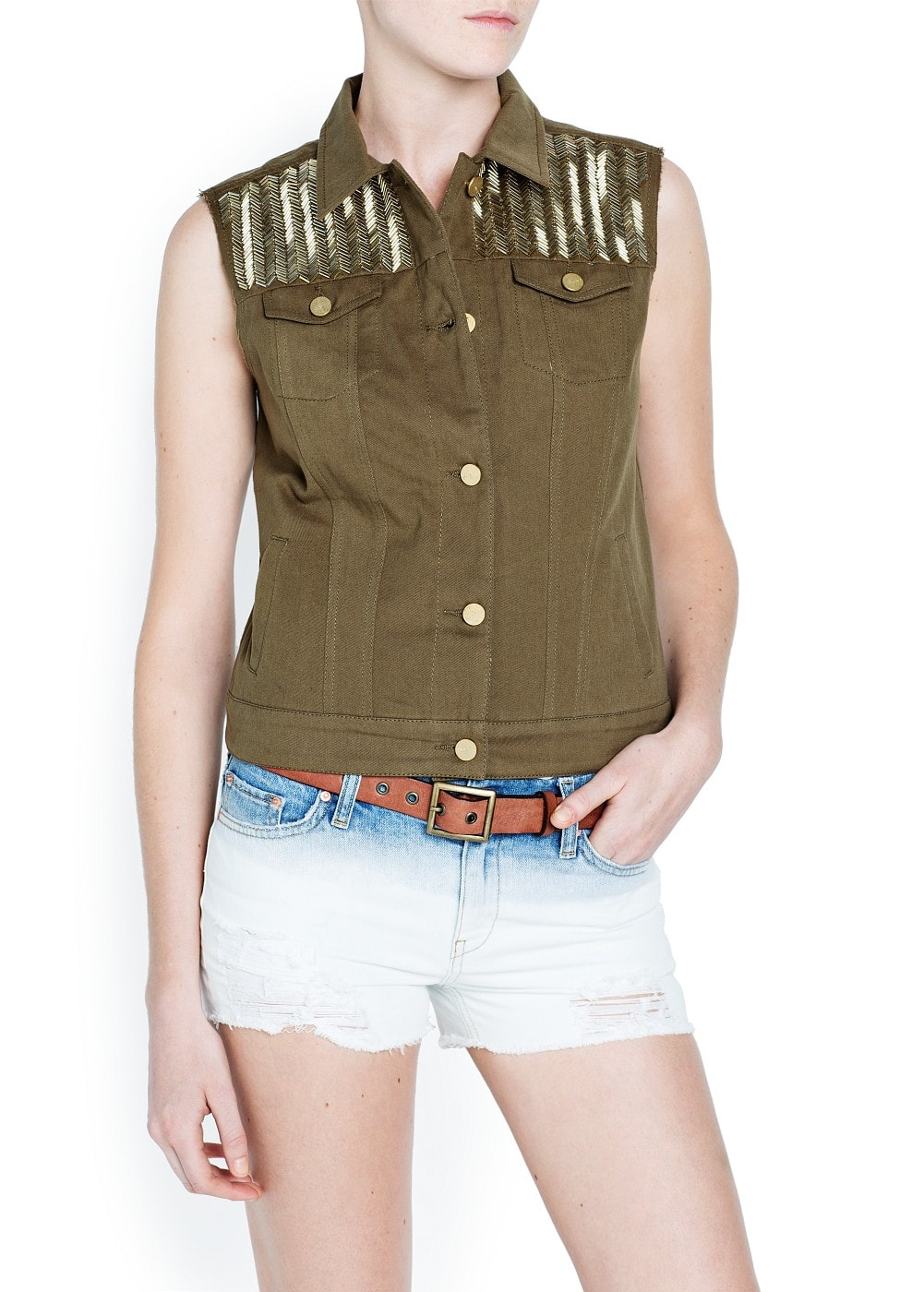 Beaded military style gilet | MANGO