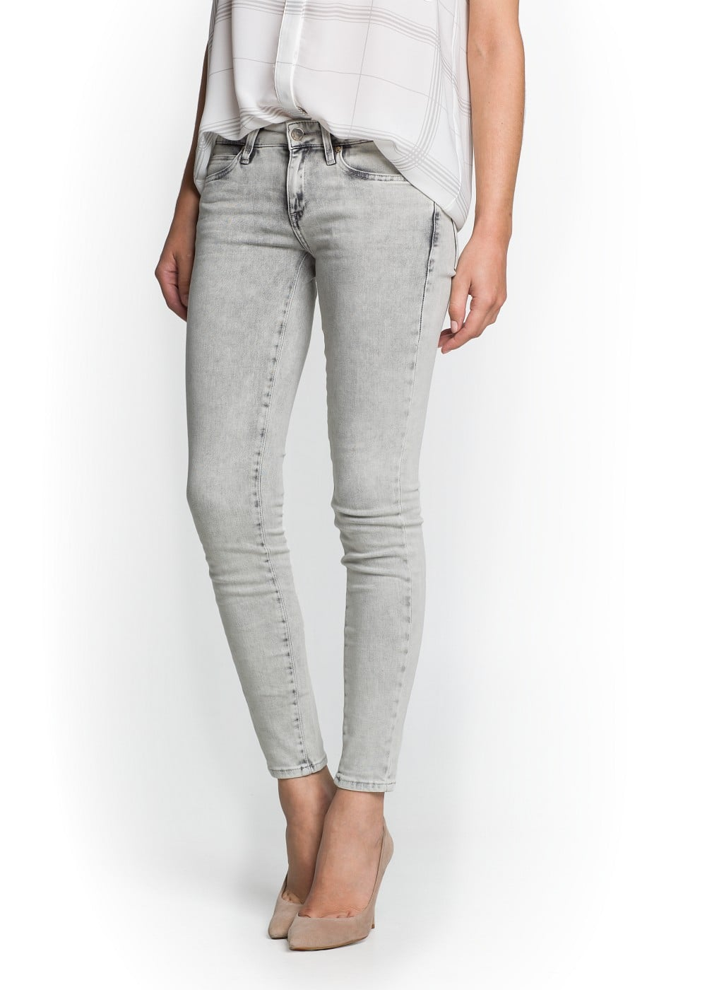 Super slim-fit light grey jeans | MANGO