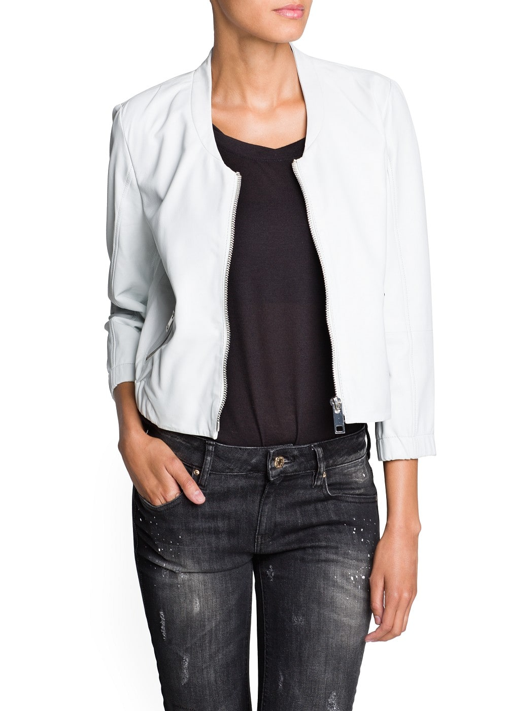 Leather bomber jacket | MANGO