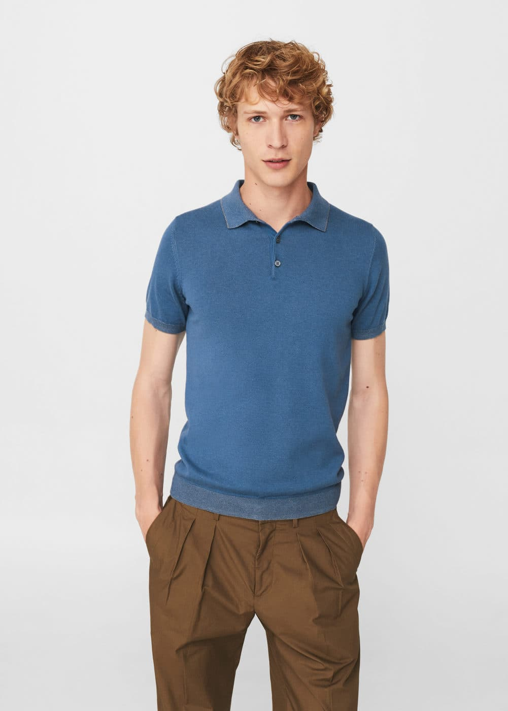 Textured cotton polo shirt | MANGO MAN