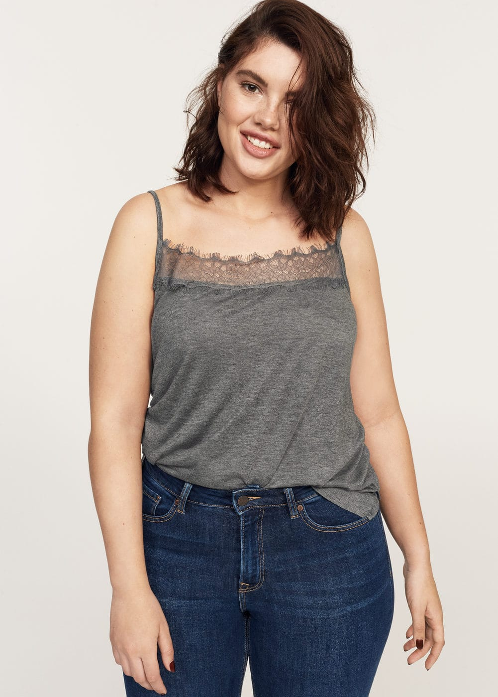 Lace flowy top | VIOLETA BY MANGO