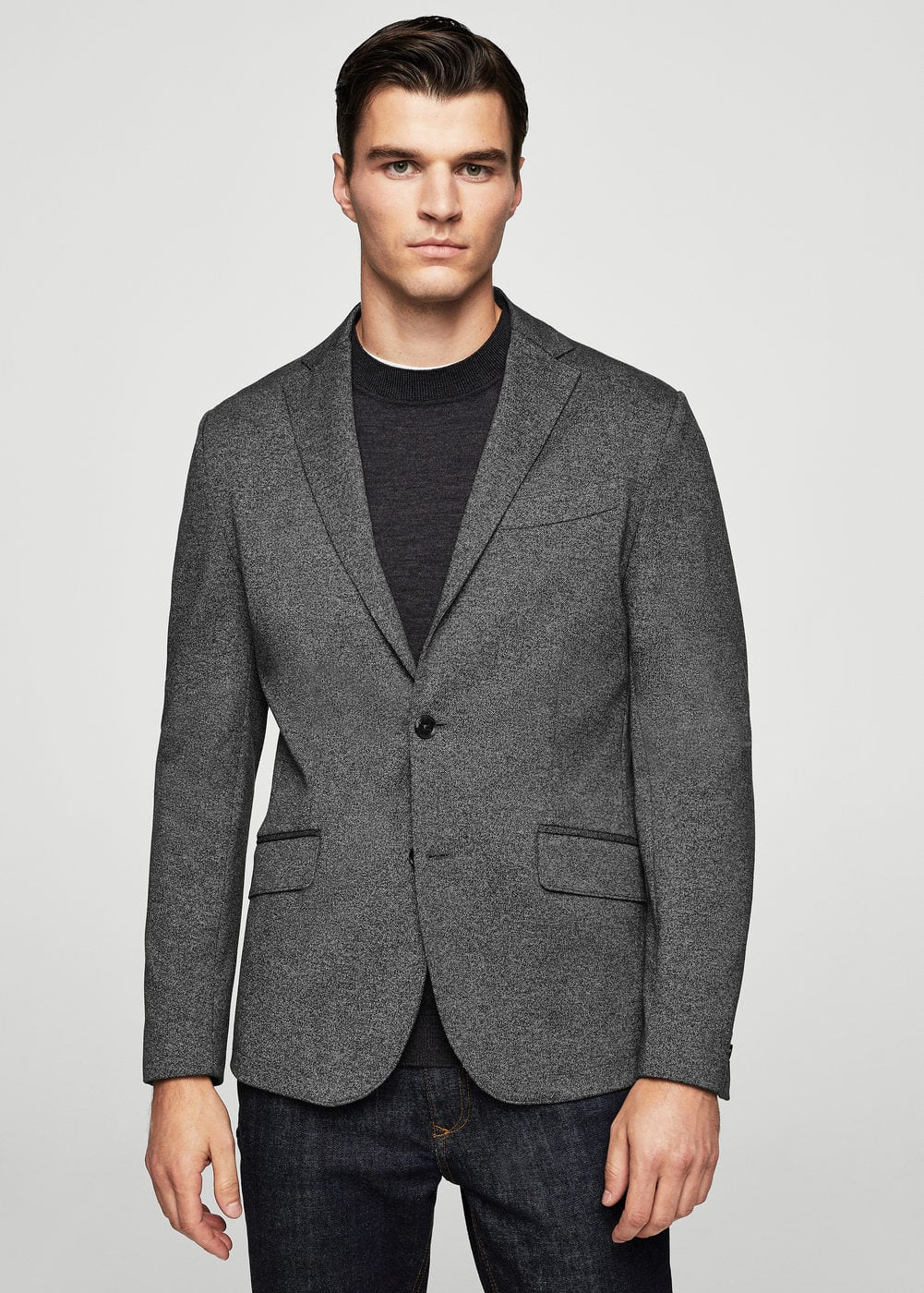 Blazer regular-fit jaspeado | MANGO