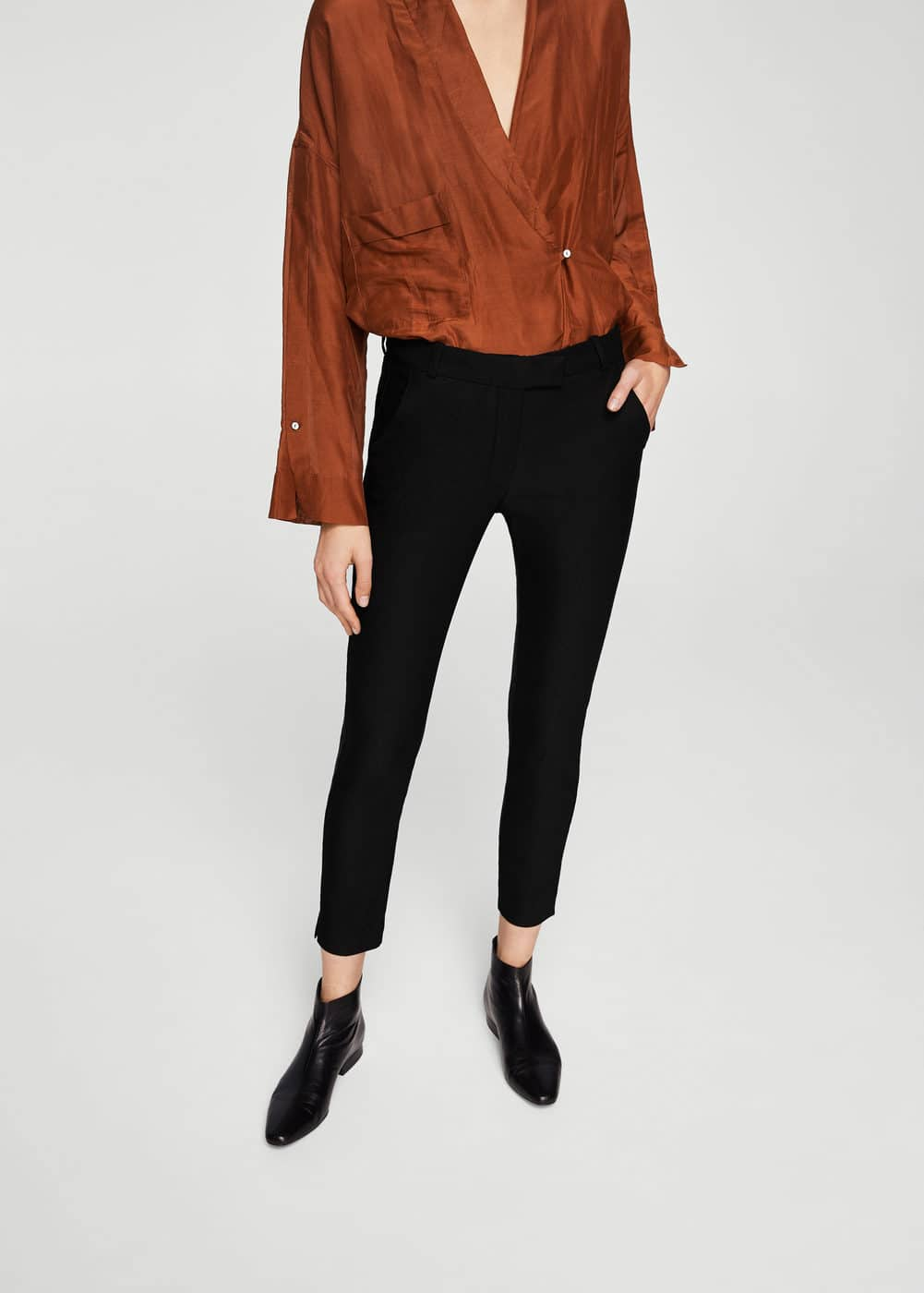 Crop slim-fit trousers | MANGO